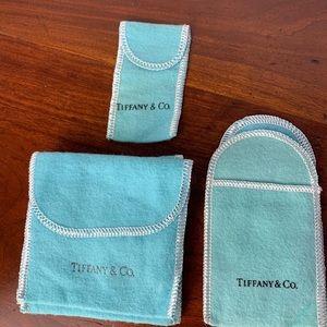 New Tiffany & Co blue felt bundle jewelry dude bag